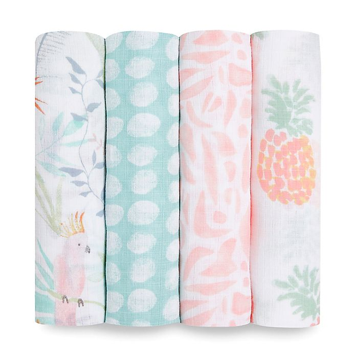 Alternate image 1 for aden + anais™ essentials 4-Pack Tropicalia Swaddle Blankets in Pink