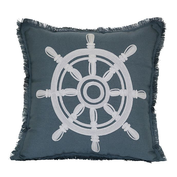 Alternate image 1 for Destination Summer Captain's Wheel Ship Square Indoor/Outdoor Throw Pillow in Grey