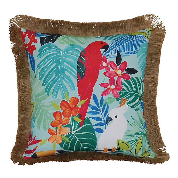 Alternate image 1 for Destination Summer Tropical Parrot Jute Square Indoor/Outdoor Throw Pillow