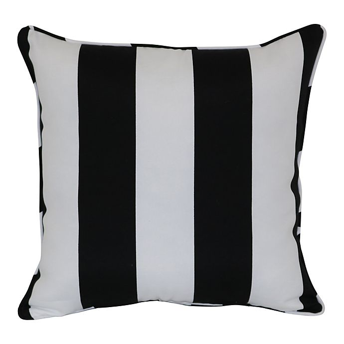 W Home Cabana Stripe Square Indoor Outdoor Throw Pillow In Black White Bed Bath Beyond