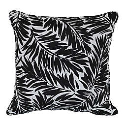 W Home™ Palm Print Square Indoor/Outdoor Throw Pillow in Black/White