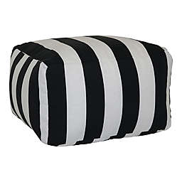 W Home™ Cabana Stripe Indoor/Outdoor Pouf in Black/White