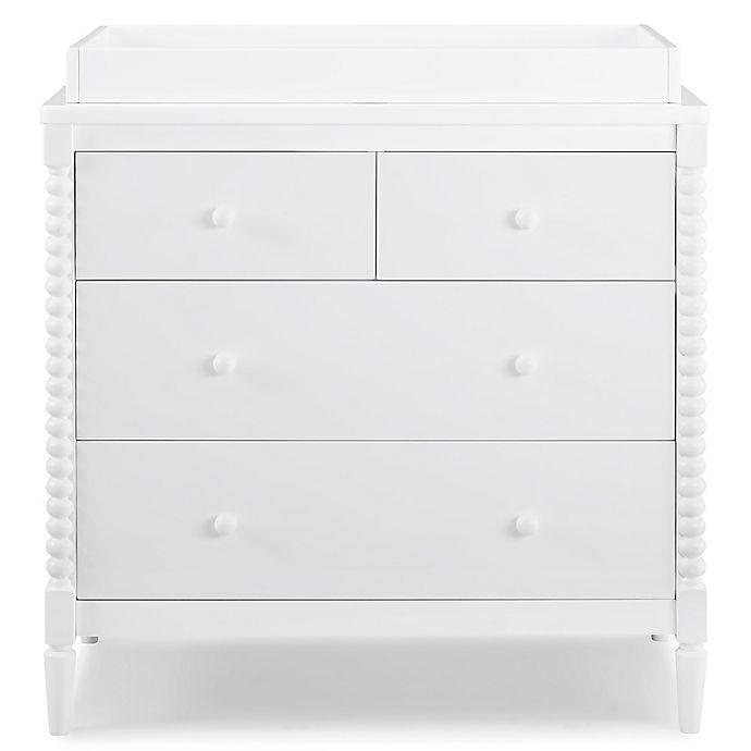 Alternate image 1 for Delta Children Saint 4-Drawer Dresser with Changing Topper in Bianca White