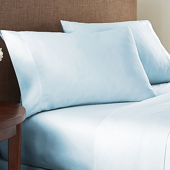 Alternate image 1 for Nestwell™ Egyptian Cotton Sateen 625-Thread-Count Queen Sheet Set in Illusion Blue