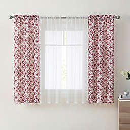 VCNY Home Dillion 4-Pack 63-Inch Rod Pocket Sheer Window Curtain Panels in Burgundy