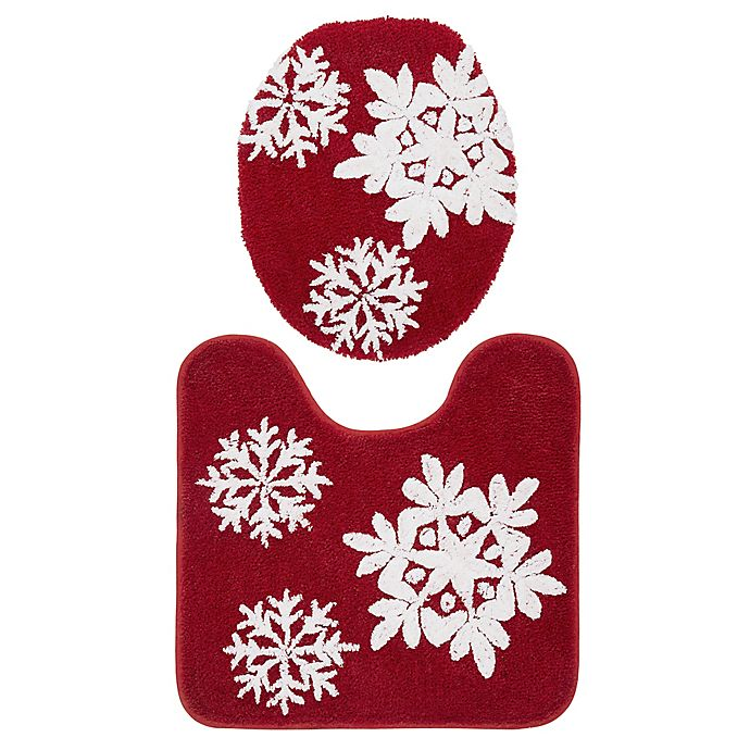 Alternate image 1 for VCNY Home 2-Piece Snowflake Contour Bath Rug and Toilet Seat Cover Set in Red