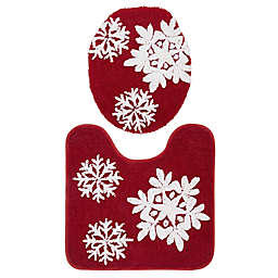 VCNY Home 2-Piece Snowflake Contour Bath Rug and Toilet Seat Cover Set in Red