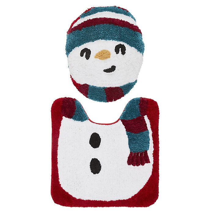 Alternate image 1 for VCNY Home 2-Piece Snowman Contour Bath Rug and Toilet Seat Cover Set