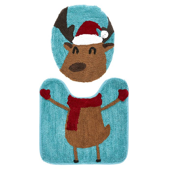 Alternate image 1 for VCNY Home 2-Piece Reindeer Contour Bath Rug and Toilet Seat Cover Set