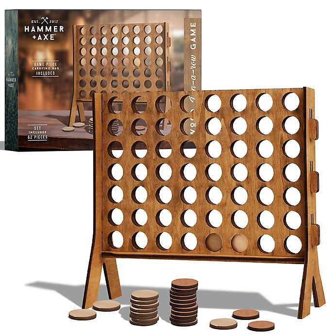 Alternate image 1 for Hammer + Axe 4-in-a-Row Wood Tabletop Game