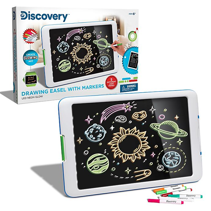 Alternate image 1 for Discovery Kids™ Drawing Light Designer Wide Screen Easel in White