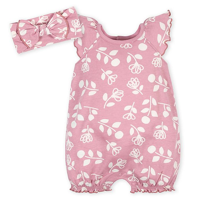 Alternate image 1 for Gerber®  2-Piece Flowers Romper and Headband Set in Pink