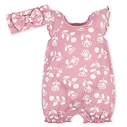 Gerber®  2-Piece Flowers Romper and Headband Set in Pink