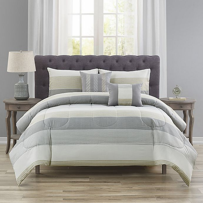 Alternate image 1 for Wide Stripe 5-Piece Comforter Set