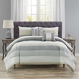 Wide Stripe 5-Piece Queen Comforter Set in Linen
