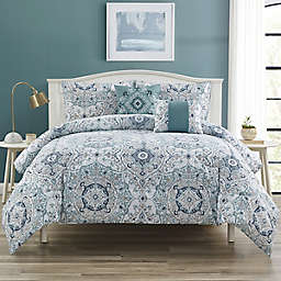 Serena 5-Piece Queen Comforter Set in Aqua