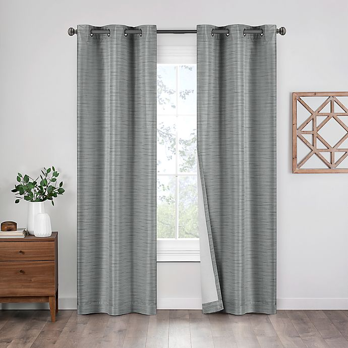 Alternate image 1 for Eclipse Griffin 2-Pack 95-Inch Grommet 100% Blackout Window Curtain Panels in Grey