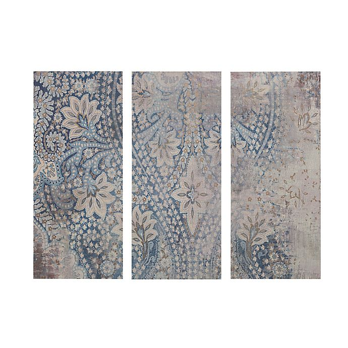 Alternate image 1 for Madison Park Weathered Damask Walls Print on Linen Wall Art in Blue (Set of 3)