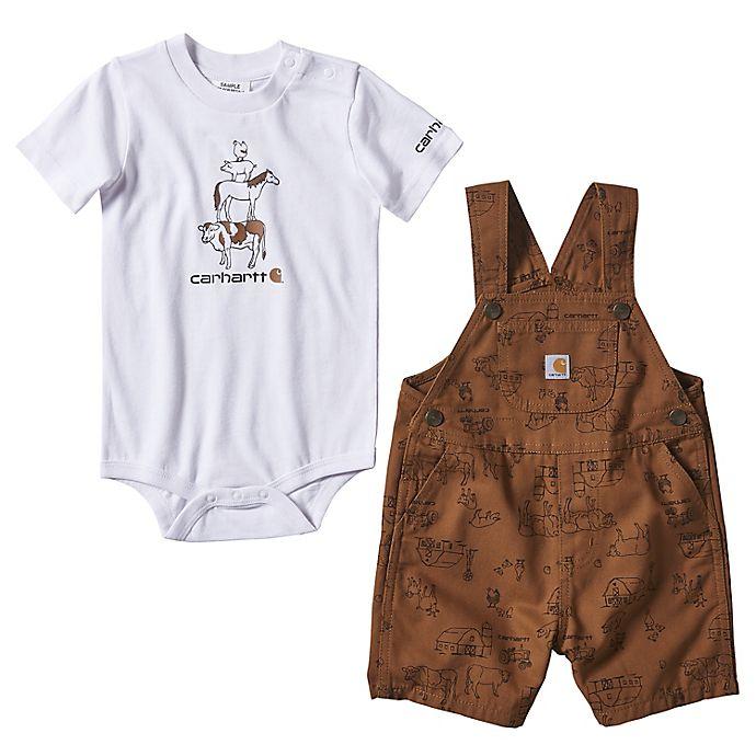 Alternate image 1 for Carhartt® Farm Stack Bodysuit and Shortall Set in White/Brown
