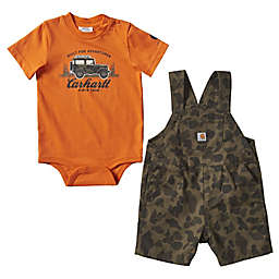 Carhartt® Size 12M Built For Adventure Bodysuit and Shortall Set in Orange