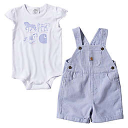 Carhartt® Size 24M 2-Piece Stripe Shortall Set in Navy