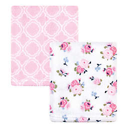 Luvable Friends® 2-Pack Floral Coral Fleece Blankets in Pink