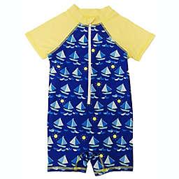 Floatmini Sailboat Scuba Suit in Blue/Yellow