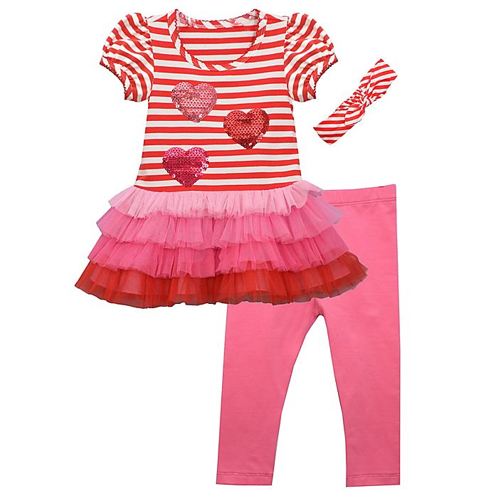 Alternate image 1 for Bonnie Baby 3-Piece Hearts and Stripes Headband, Tutu Shirt, and Pant Set in Red