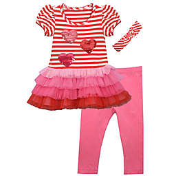 Bonnie Baby 3-Piece Hearts and Stripes Headband, Tutu Shirt, and Pant Set in Red
