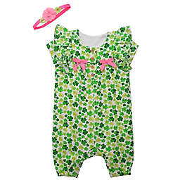 Bonnie Baby 2-Piece Clover Bows Romper and Headband Set in Green