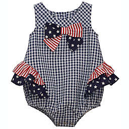 Bonnie Baby 4th of July Stars and Stripes Gingham Bubble Bodysuit in Navy/White