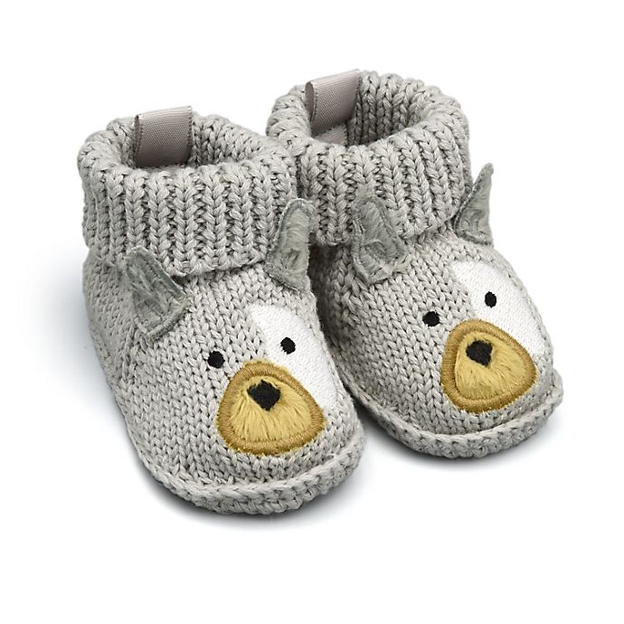 Alternate image 1 for goldbug™ Crochet Knit Newborn Frenchie Booties in Grey