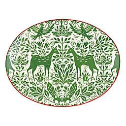 viva by VIETRI Mistletoe 14-Inch Oval Serving Platter in Green