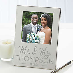 Stamped Elegance Engraved Wedding Photo Frame in Silver