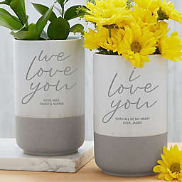 Love You Personalized Cement Vase