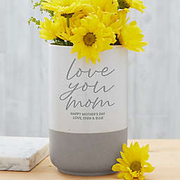 Love You, Mom Personalized Cement Vase