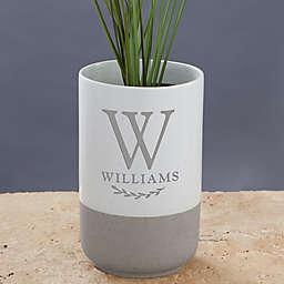 Family Laurel Personalized Monogram Cement Vase