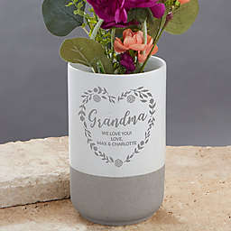 Grandma Wreath Personalized Cement Vase