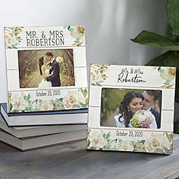 4-Inch x 6-Inch Floral Wedding Shiplap Picture Frame in Neutral