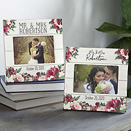 4-Inch x 6-Inch Floral Wedding Shiplap Picture Frame