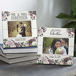 4-Inch x 6-Inch Floral Wedding Shiplap Picture Frame in Plum