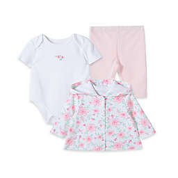 Little Me® 3-Piece Take Me Home Blossom Garden Jacket, Pants, and Bodysuit Set in Pink