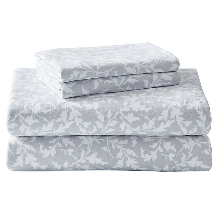 Alternate image 1 for Laura Ashley® Crestwood Flannel Sheet Set in Grey