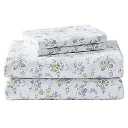 Laura Ashley® Le Fleur Cottage Flannel Sheet Set in Blue