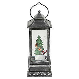 Holiday Santa and Tree 12-Inch Plastic Christmas Lantern