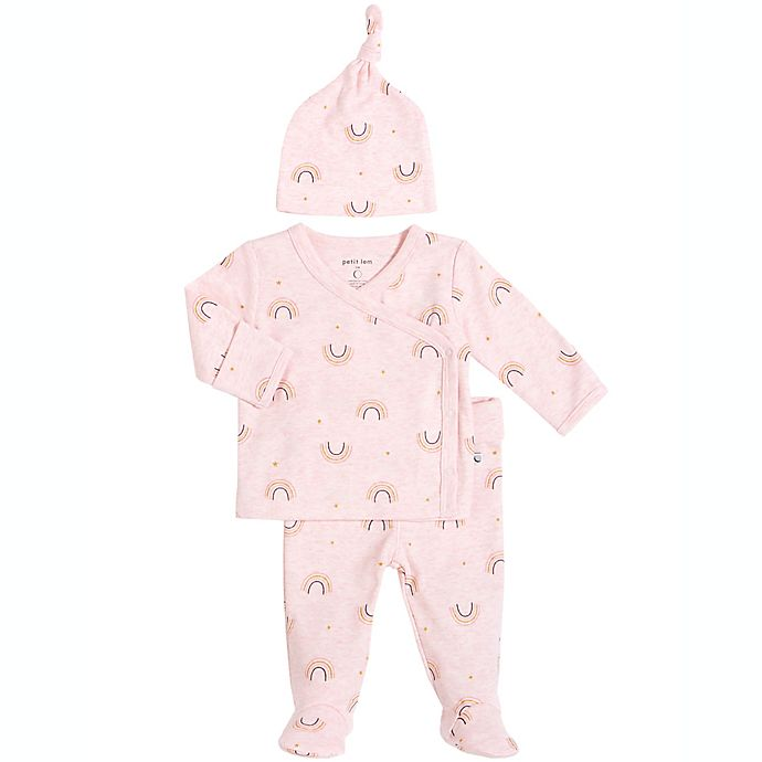 Alternate image 1 for Petit Lem™ 3-Piece Rainbow Kimono, Footed Pants, and Cap Set in Pink