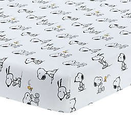 Lambs & Ivy® Classic Snoopy Cotton Fitted Crib Sheet in White