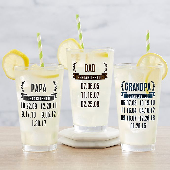 Alternate image 1 for Date Established Personalized 16 oz Pint Glass