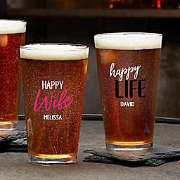 Happy Wife, Happy Life Personalized 16 oz. Pint Glass