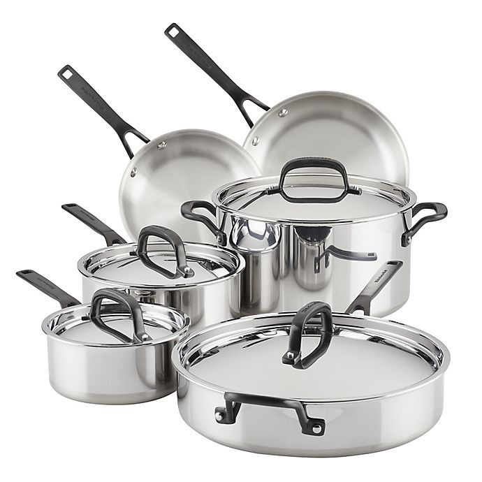 Alternate image 1 for Kitchenaid® 5-Ply Clad Stainless Steel 10-Piece Cookware Set